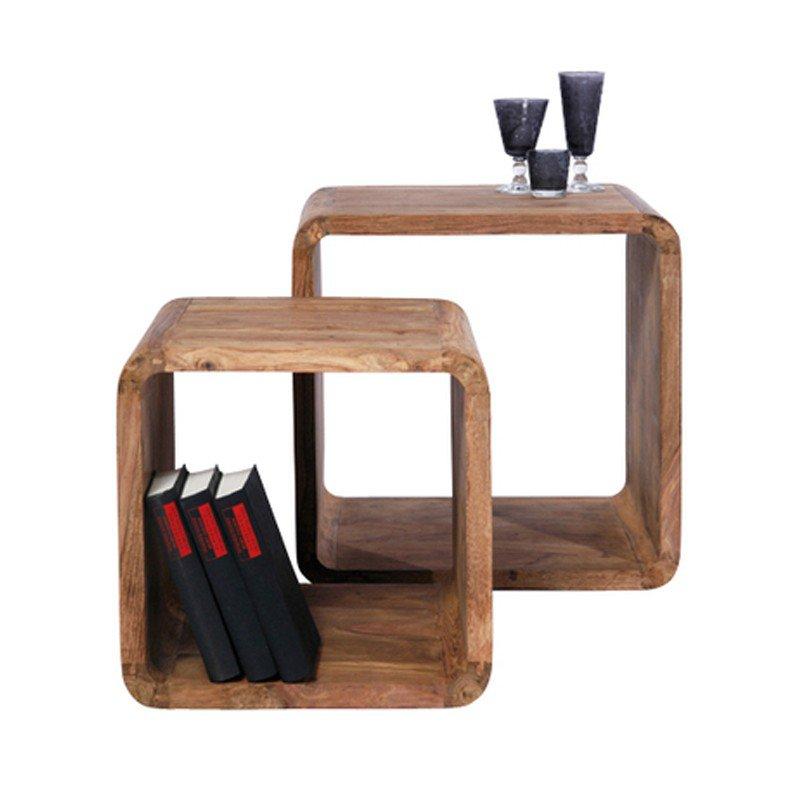 Bijzettafel hout Authentico Cube
