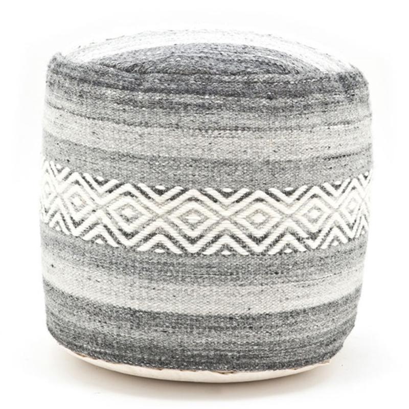 by boo gump authentieke grijze poef met motief lumz. Black Bedroom Furniture Sets. Home Design Ideas