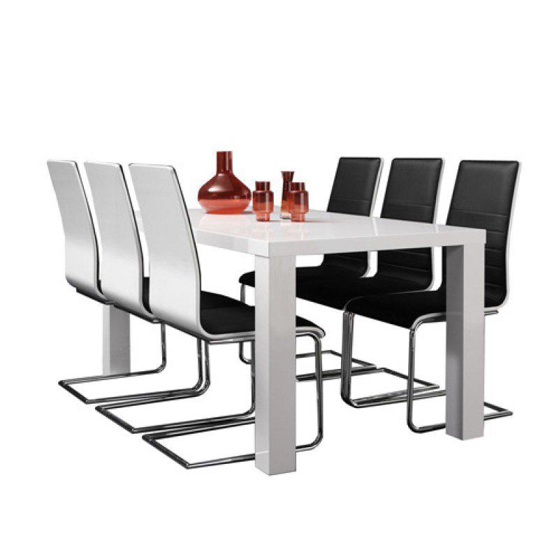 Eettafel hoogglans wit 160 cm