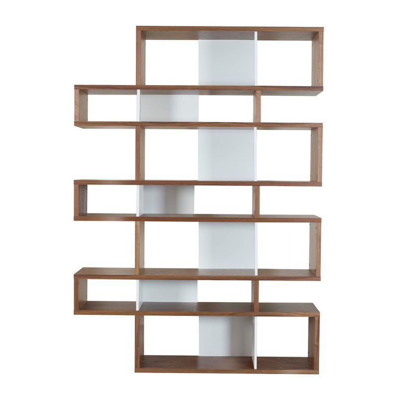 hoge boekenkast walnoot wit