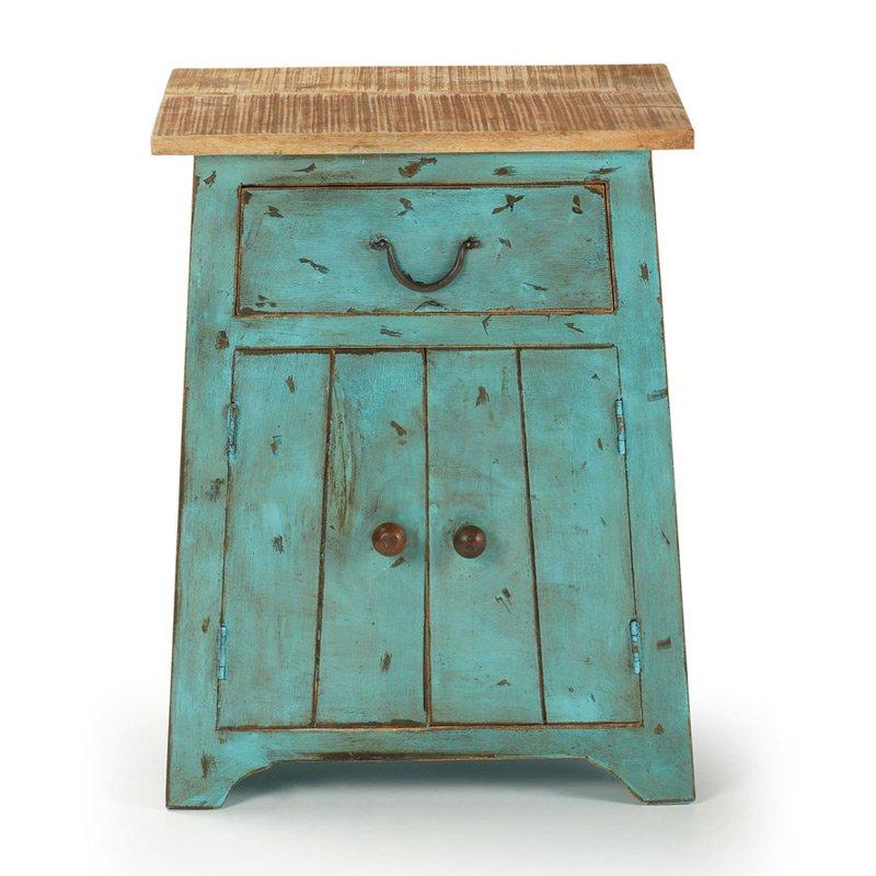 Turquoise nachtkastje van hout