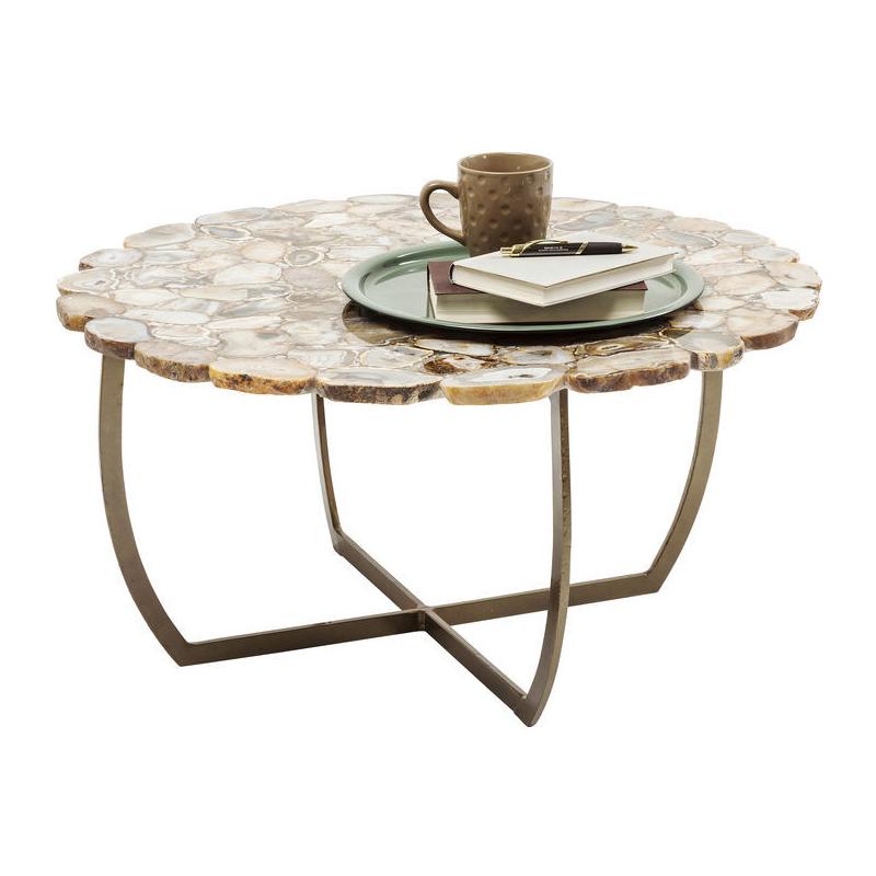 Kare design tereso salontafel rond met bruine stenen lumz for Salontafel rond design