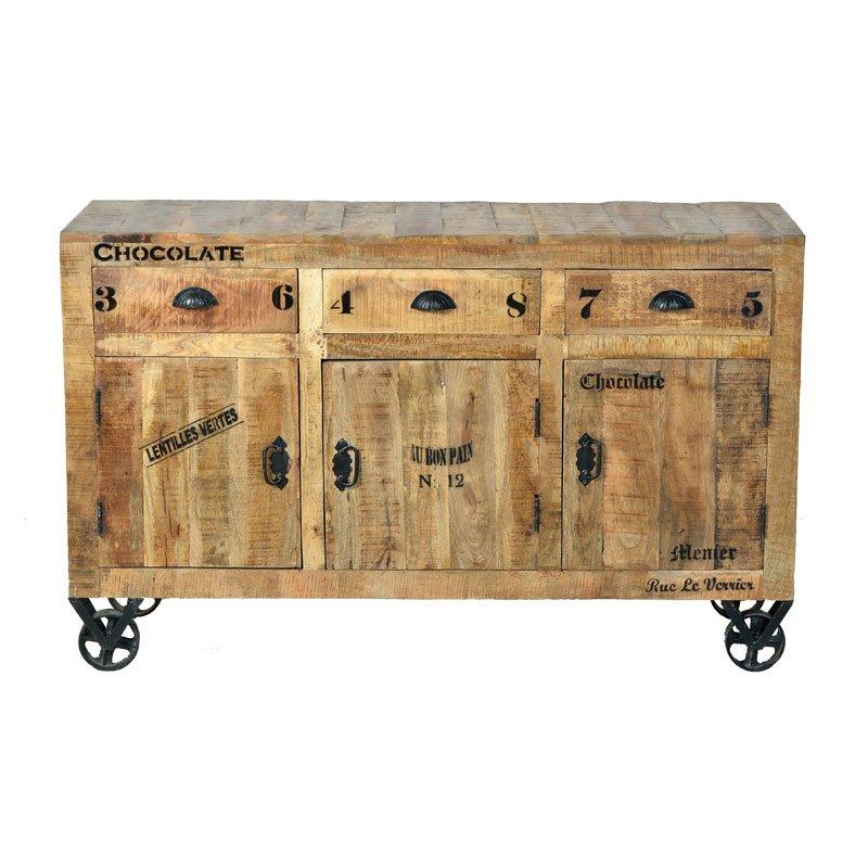 Robuust dressoir van mangohout 3-deurs