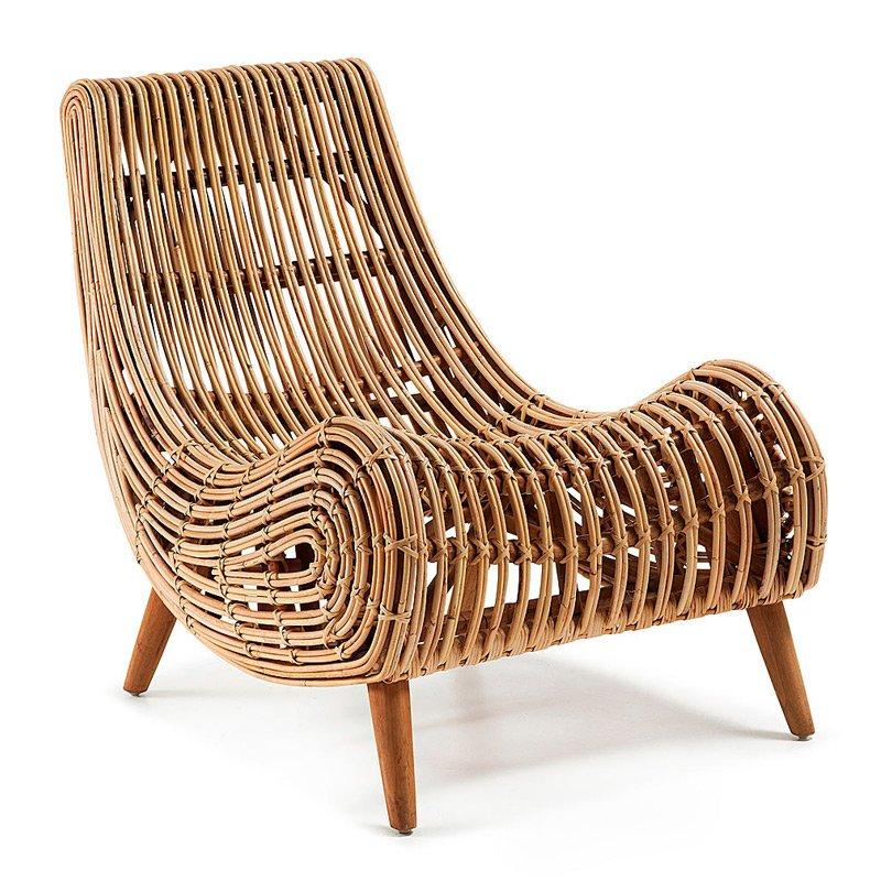 Rotan fauteuil met mahonie poten