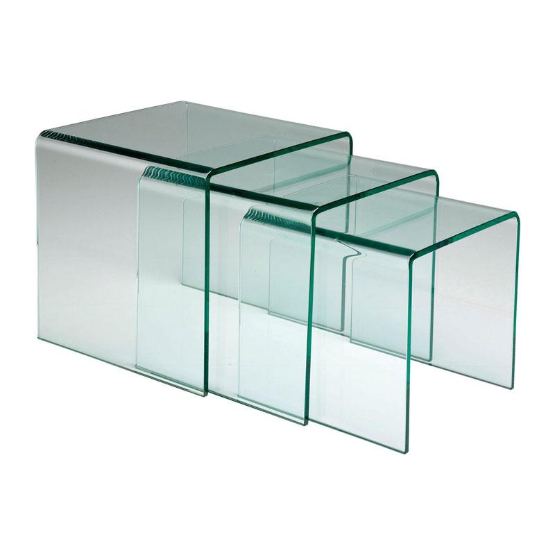 Glazen Bijzettafels Design.Set Van Drie Glazen Bijzettafels