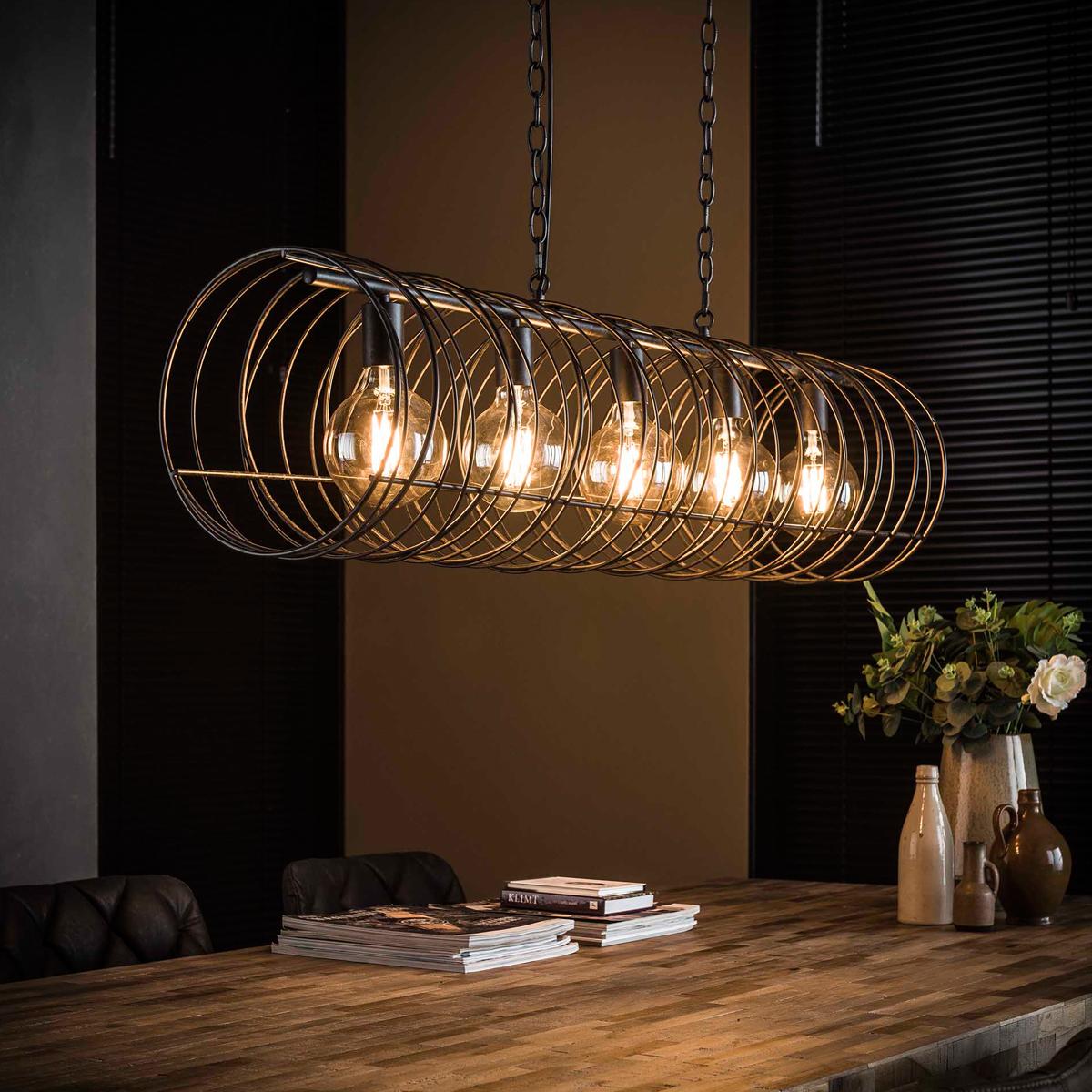 Wonderbaar Spiraal eettafel hanglamp zwart staaldraad   Santa Petro   LUMZ GT-42