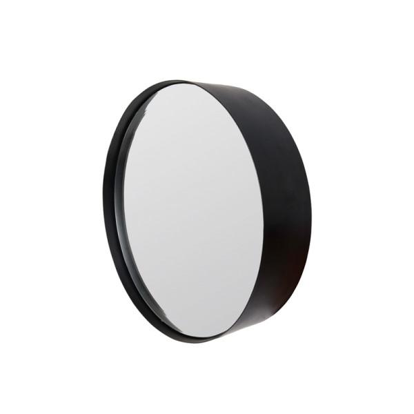 Ronde spiegel van zwart metaal