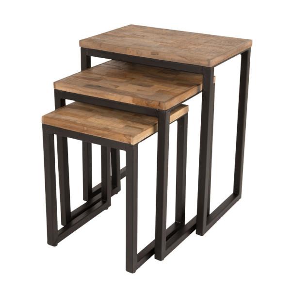 Set van bijzettafels hout