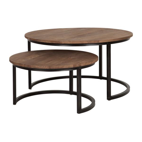 Set van 2 houten salontafels