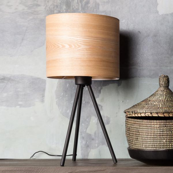 Tafellamp met houten kap