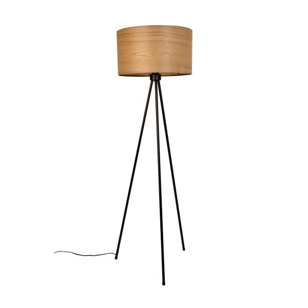 Vloerlamp met houten kap