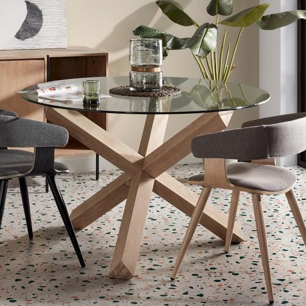 Ronde tafel met glazen blad
