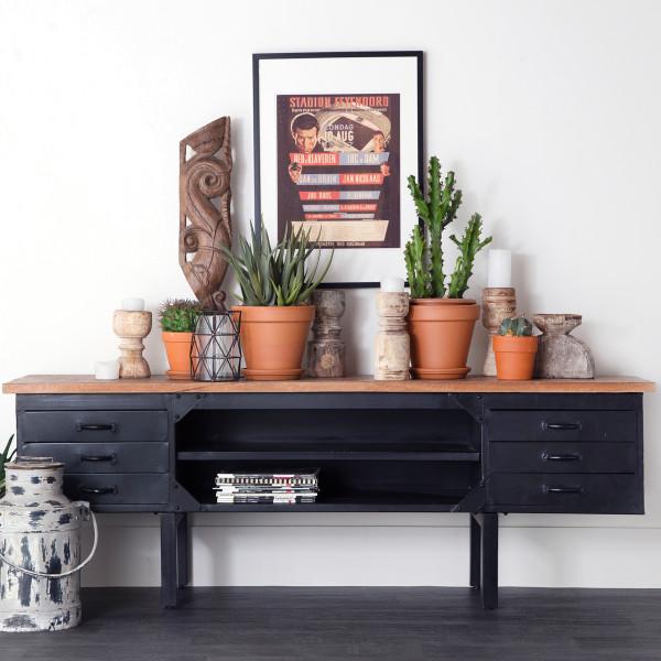 Industriele houten tv-meubel