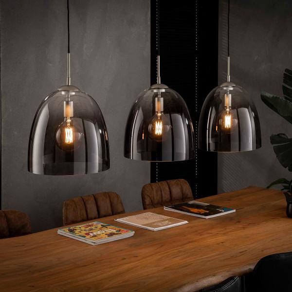 Glazen hanglamp met 3 ovale kappen