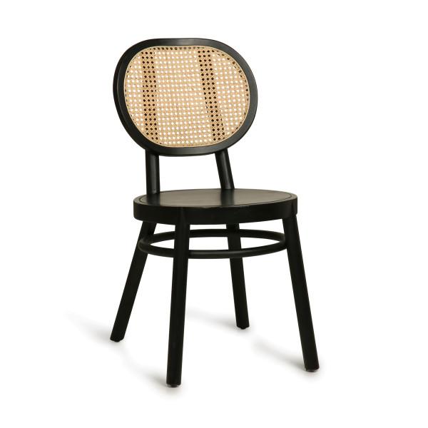 Zwarte stoel met webbing