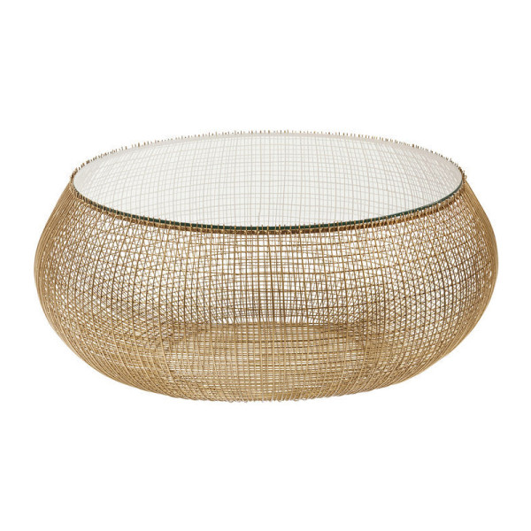 Glazen salontafel met goud gaas