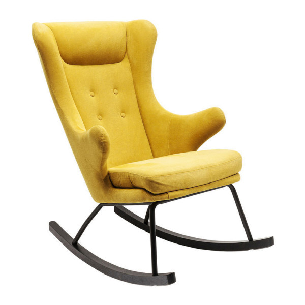 Eigenzinnige gele schommelstoel
