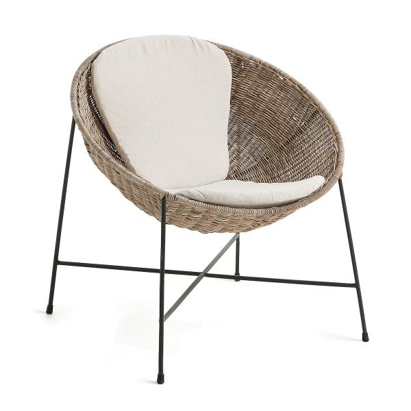 Rotan halvebol fauteuil