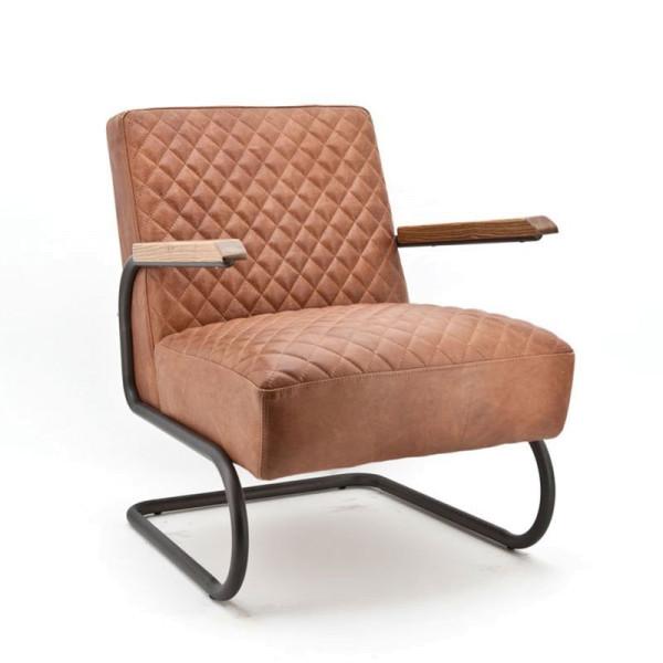 Lederen fauteuil sledeframe