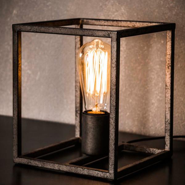 Metalen tafellamp kubus