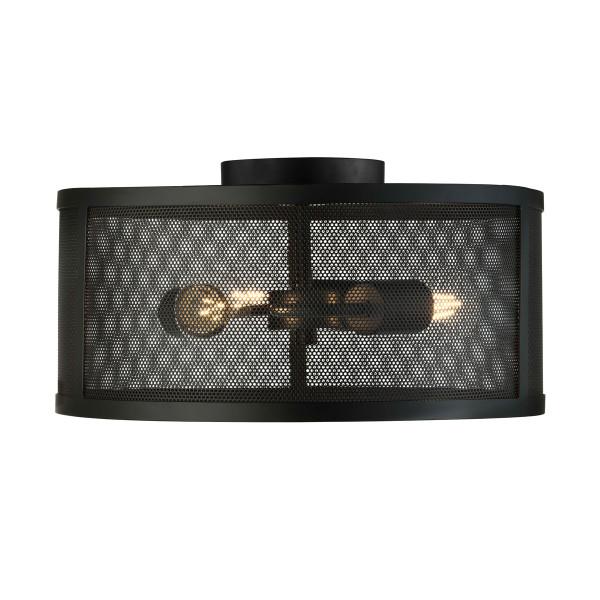 Plafondlamp zwart metaal gaas