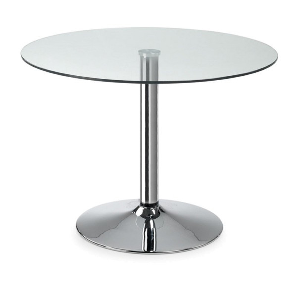 Ronde tafel van glas en chroom