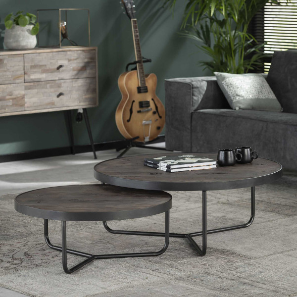 Ronde houten salontafelset