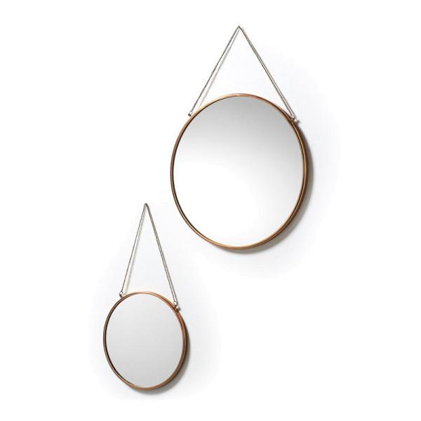 Set van 2 koperen spiegels