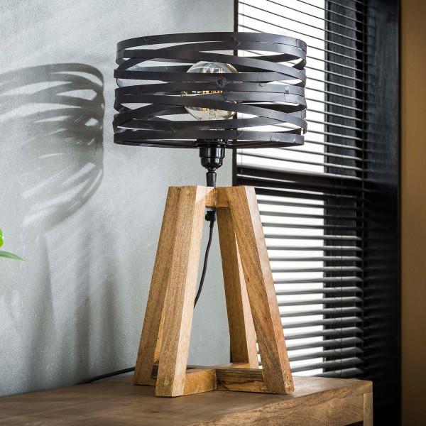 Tafellamp hout met metaal
