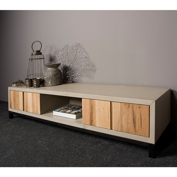 TV-meubel eiken en beton 180