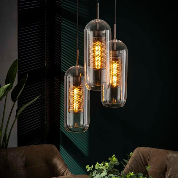 Trapse hanglamp met glazen cylinders