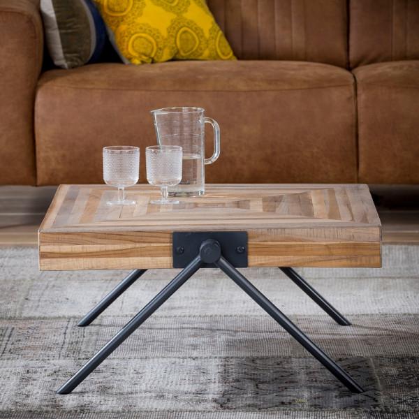 Vierkante teakhouten salontafel