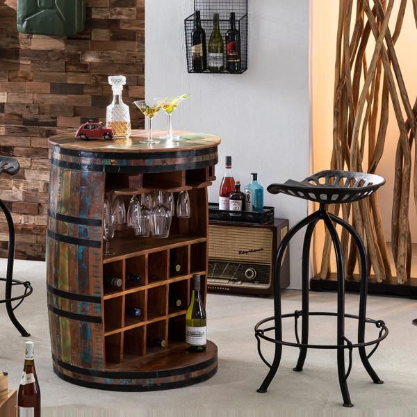 Wijnvat bartafel met wijnrek