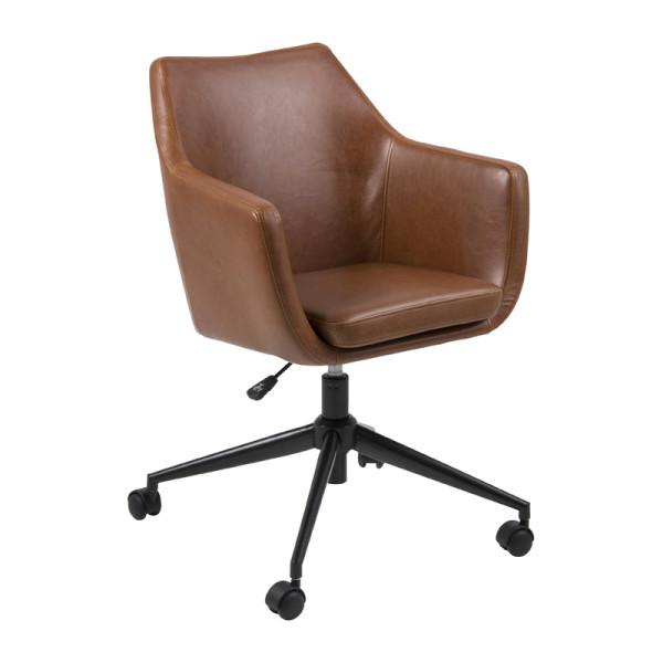Kunstleren bureaustoel met zwart onderstel