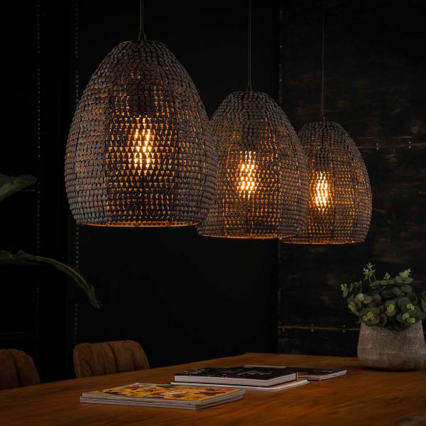 Zwart-bruine hanglamp met ovale kappen