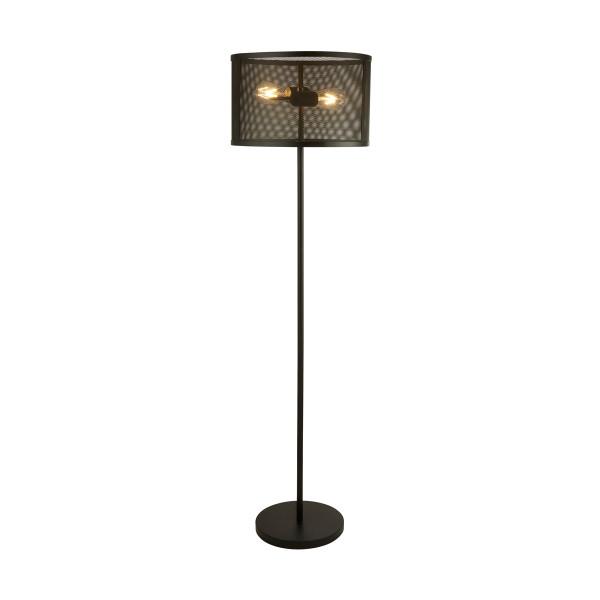 Zwarte vloerlamp van metaal gaas