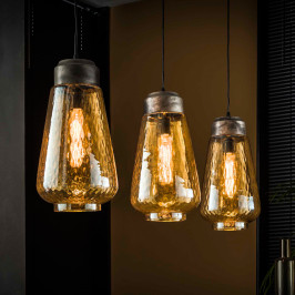 3-delige hanglamp amberkleurig glas