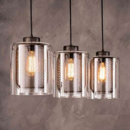 3-lichts hanglamp metaal met glas