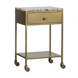 Nachtkastje op wielen goud marmer