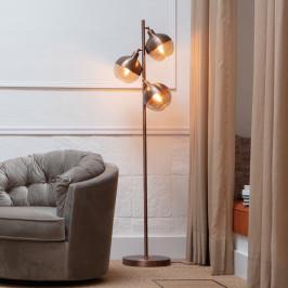 Bruine vloerlamp met 3 bollen