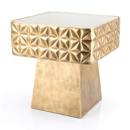 Vierkante bijzettafel goud met glas