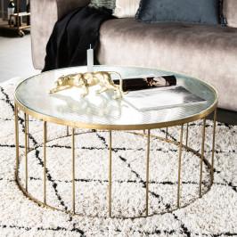 Ronde salontafel goud en ribbelglas