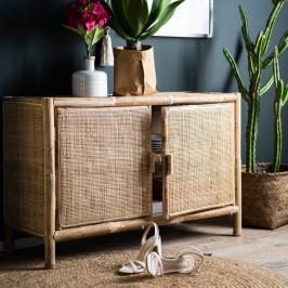 Bamboe dressoir met rotan deuren