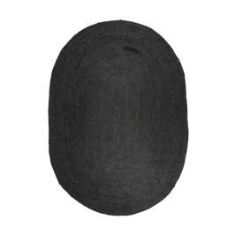 Jute vloerkleed ovaal zwart