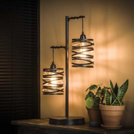 Donkergrijze tafellamp metaal