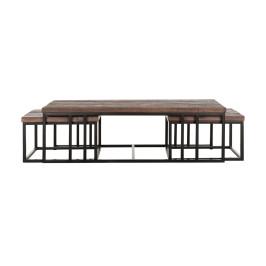 Set van 3 teakhouten salontafels