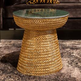 Gouden bijzettafel met marmer
