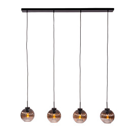 Eettafel hanglamp geribbeld glas