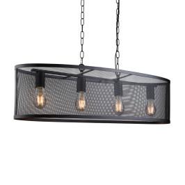 Eettafel hanglamp zwart metaal gaas