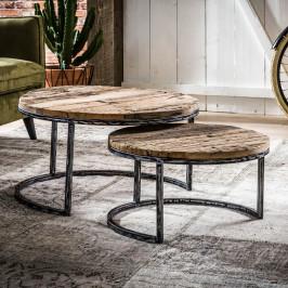 Hardhouten salontafelset rond